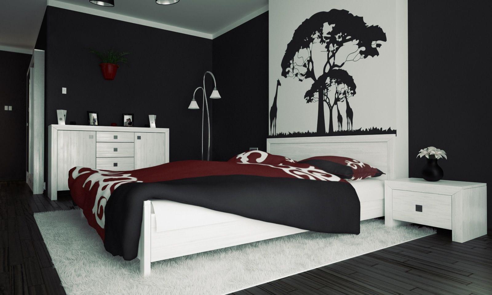 moderne schlafzimmer ideen mit schwarzen wänden und schwarzem holzfußboden