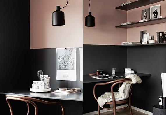 moderne wandgestaltung und coole farbgestaltung in schwarz und altrosa