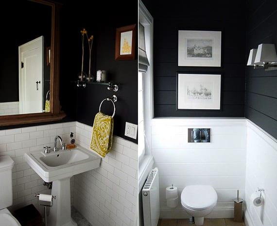 kleine badezimmer ideen für moderne badgestaltung mit weißen badfliesen und schwatzen wänden