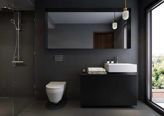 glas statt fliesen im bad_schwarze wände und glastrennwand für die dusche