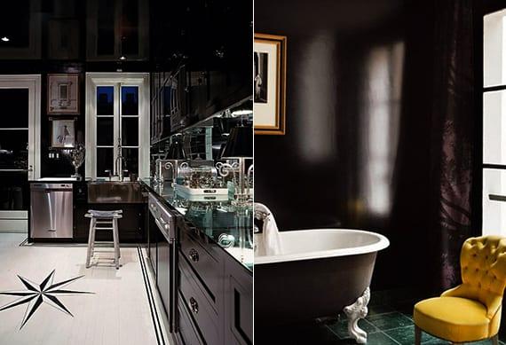 moderne küche mit küchenschränken in schwarz und modernes badezimmer mit freistehender badewanne schwarz