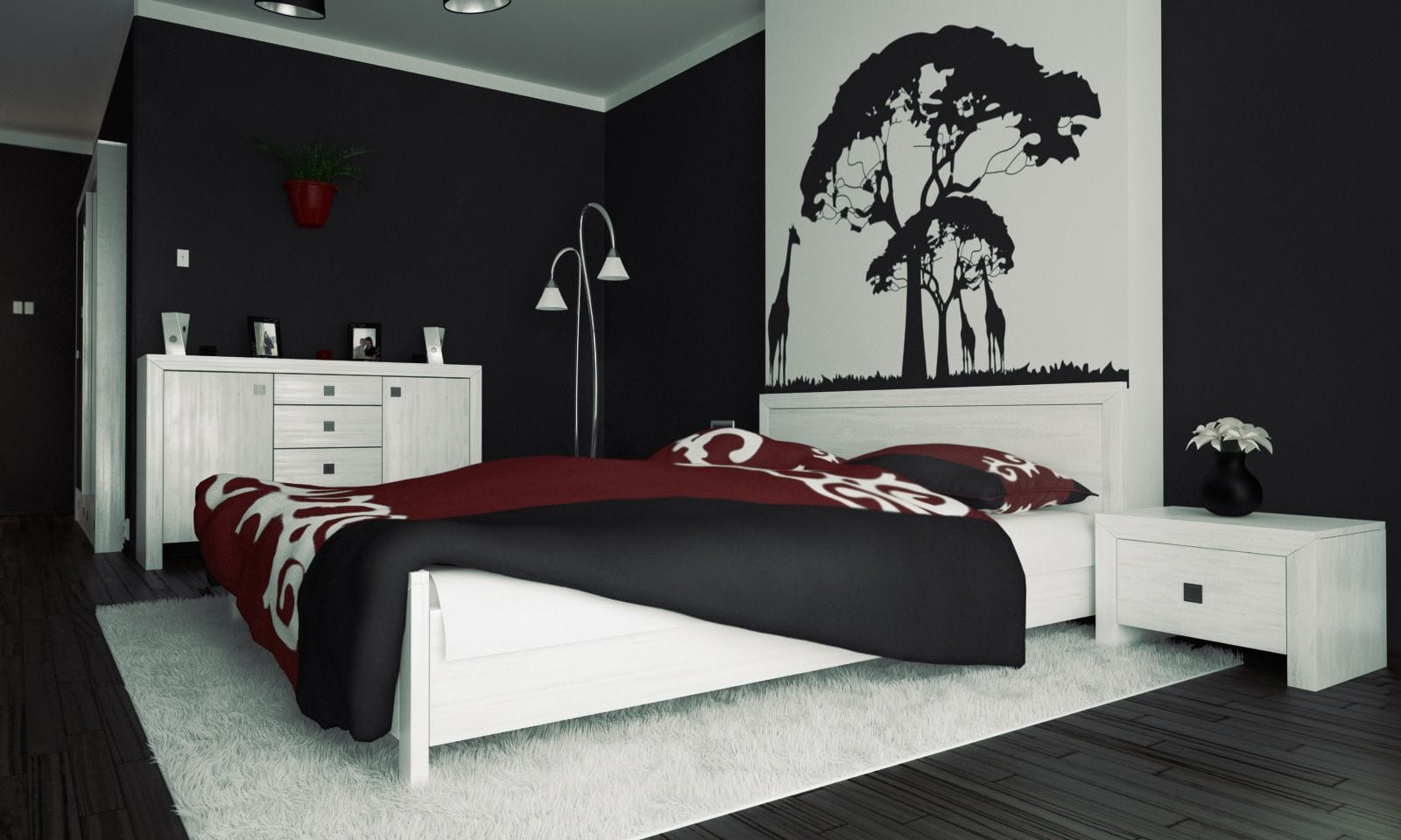 Schwarze w nde 48 wohnideen f r moderne raumgestaltung freshouse for Black bedroom ideas pinterest