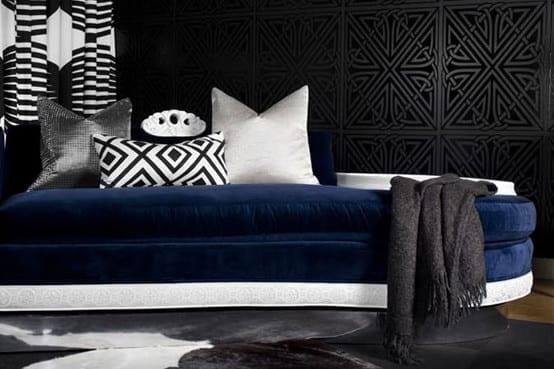 wohnzimmer schwarz weis blau ~ kreative deko-ideen und ... - Wohnzimmer Blau Schwarz