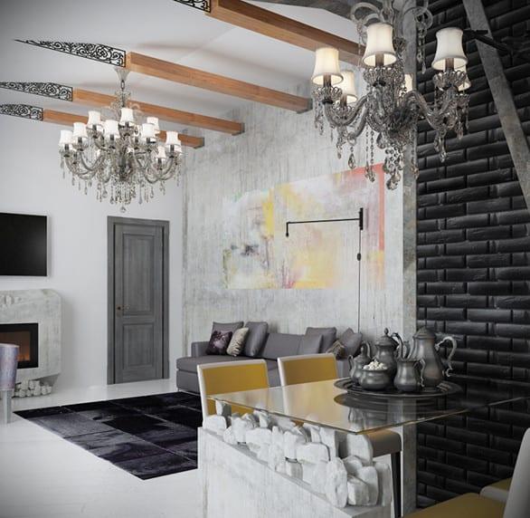 kleine wohnung modern einrichten mit ziegelwand schwarz und kleine esstisch glas mit weißen esstischstühlen_coole deckengestaltung mit deckenbalken aus holz und metall und vinatge Kronleuchtern mit kristallen