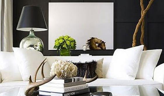Schwarze w nde moderne wohnzimmer einrichtung und for Moderne wohnzimmereinrichtung 2016