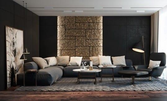 wohnzimmer design in schwarz mit schwarzen texturierten wände und moderne wandgestaltung wohnzimmer in gold