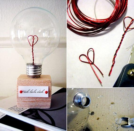 geschenke selber machen_coole bastelidee mit Glühbirne und Draht zum basteln vom Valentinstag Geschenk