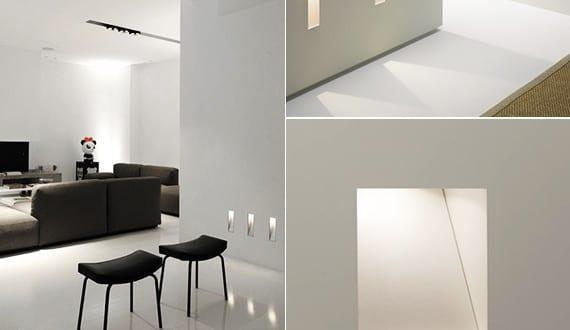 beleuchtungsideen und passendes lichtkonzept mit modernen led einbauleuchten als wandleuchten. Black Bedroom Furniture Sets. Home Design Ideas