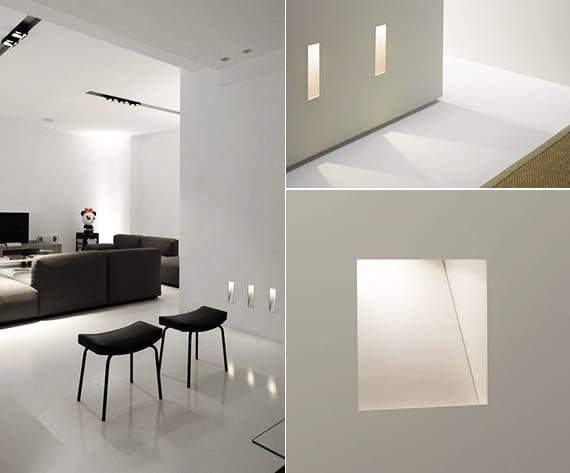 lichtkonzept mit wandleuchten für beleuchtung im wonzimmer und flur_beleuchtungsideen mit led einbauleuchten für licht und raum