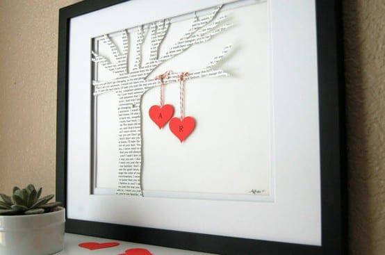 kreative Bastelideen für selbstgemachte geschenke zum valentinstag_diy Bild mit Baum aus Zeitungspapier und höngenden Härzen