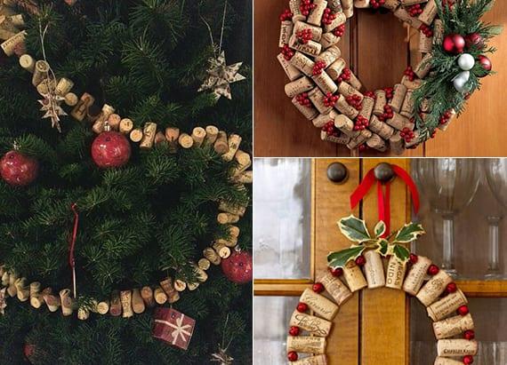 ideen zum basteln von Türkranz aus Weinkorken und coole bastelideen für Weihnachts Dekoration
