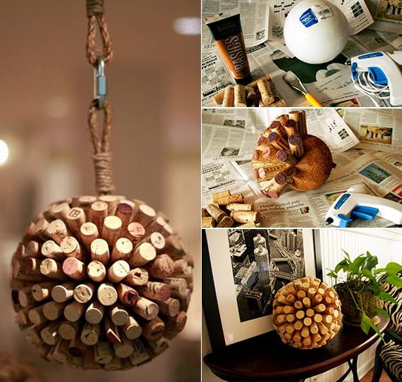 dekorative kugel basteln mit korken