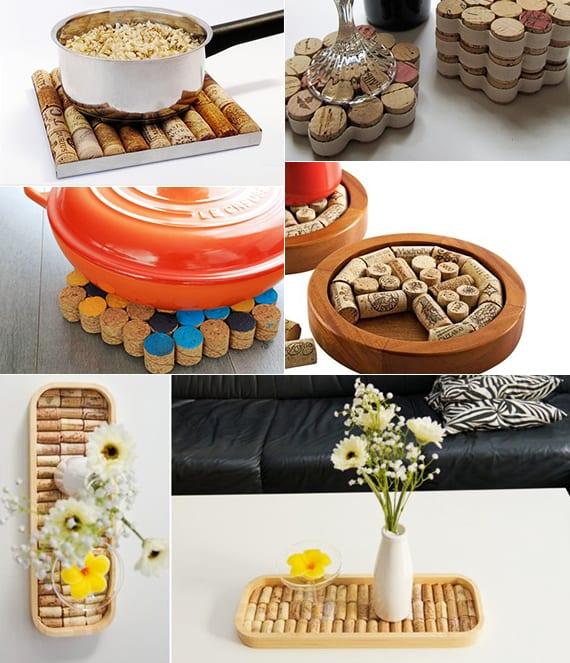 einfache bastelideen für tischdeko mit DIY Untersetzer aus Kork