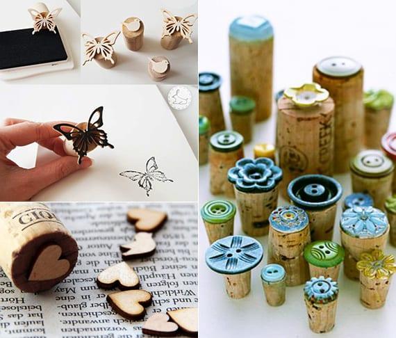 einfache und kreative bastelideen für DIY Stempel aus Kork