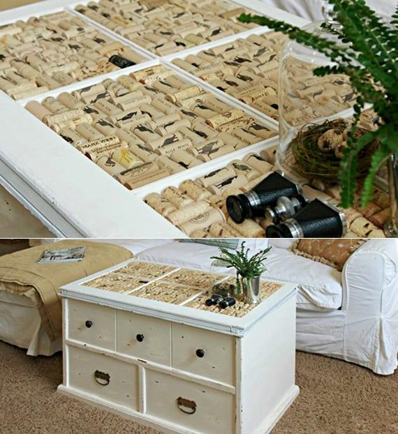 couchtisch delber bauen aus Holzfenster und mit Korken dekorieren