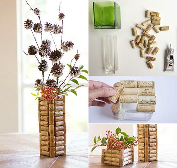 einfache bastelideen für diy blumenvasen_vase basteln mit korken