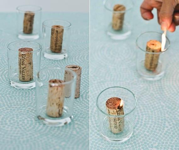 kerzen aus korken basteln_ideen für weinkorken recyling