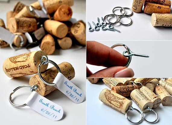 coole Bastelidee für DIY schlüsselanhänger aus Weinkorken