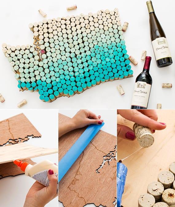 coole ideen zum basteln von Wanddeko mit Weinkorken