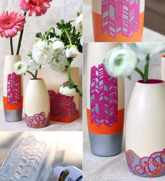 vasen als selbstgemachtes geschnk und coole dekoration mit blumen