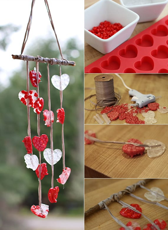 kreative bastelidee für DIY-Windspiel als coole idee zum valentinstag