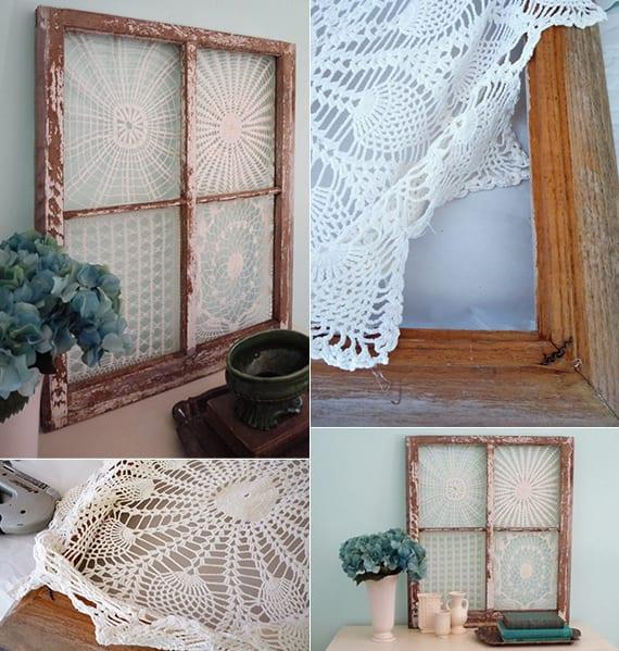 Vintage Deko basteln mit Holzrahmen und spitzendeckchen als coole wanddeko idee