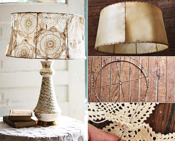 diy lampe im vintage style mit lampenschirn aus spitze