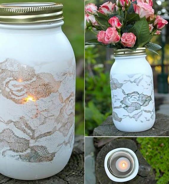 deko basteln mit spitzen als coole hochzeitsdeko ideen mit weißen teelichthaltern und diy vasen als tischdeko