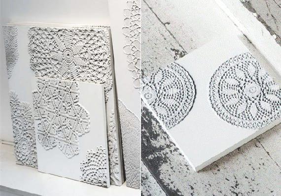 coole deko ideen mit DIY Deko aus leinwände und runden Spitzendecken