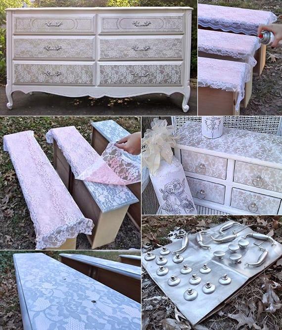 sideboard weiß mit Spitze gestalten_coole bastelidee für antike holzmöbel