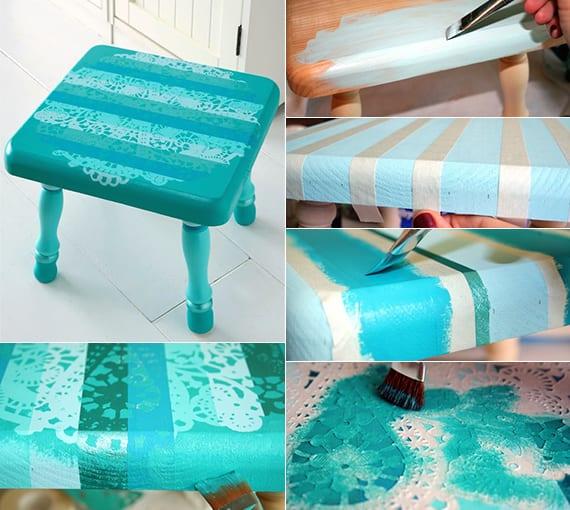 möbel renovieren und streichen_DIY hocker blau mit spitzen motiv
