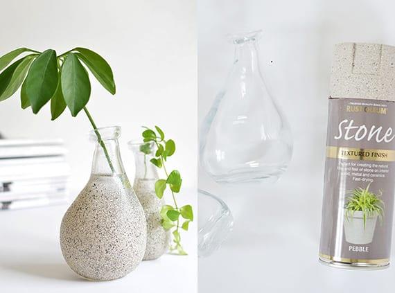 moderne Vasen selbst gestalten mit sprayfarbe_coole dekoideen mit diy vasen
