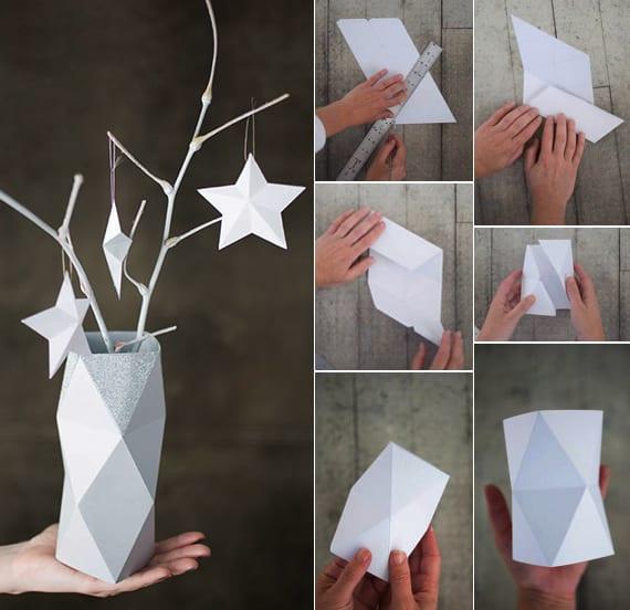 vasen selber machen als coole dekoration_basteln mit papier