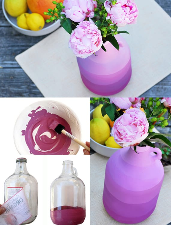 ombre vasen selber machen_interessante bastelidee für diy vase als originelles geschenk und coole frühlingsdeko