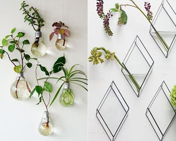 wandhänge vasen selber machen_diy wanddeko mit diy vasen und pflanzen