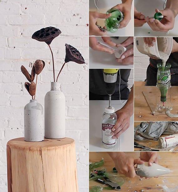 basteln mit beton als coole bastelidee für DIY vase_vasen als dekoideen und geschenkideen