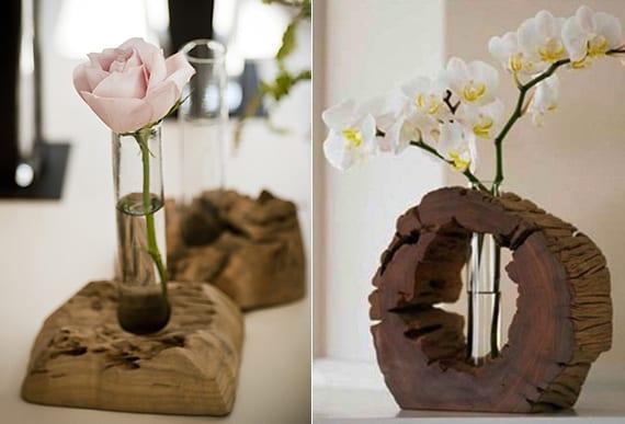 basteln mit holz als coole idee für diy vase und diy deko mit blumen