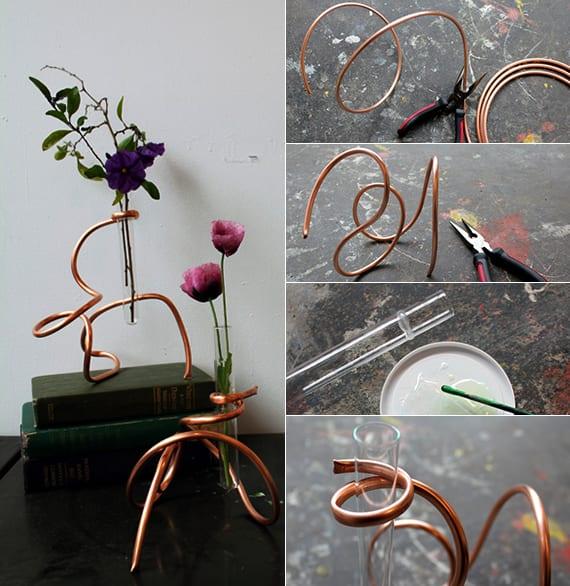 moderne und originelle dekoideen mit diy vase_basteln mit metallröhren