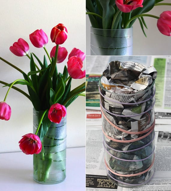 einfache bastelideen für vasen selber machen_selbstgemachte Geschenke zum muttertag