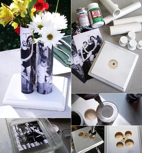 vasen selber machen aus pvc rohr und fotos_kreative dekoidee und geschenkidee für selbstgemachte geschenke mit fotos