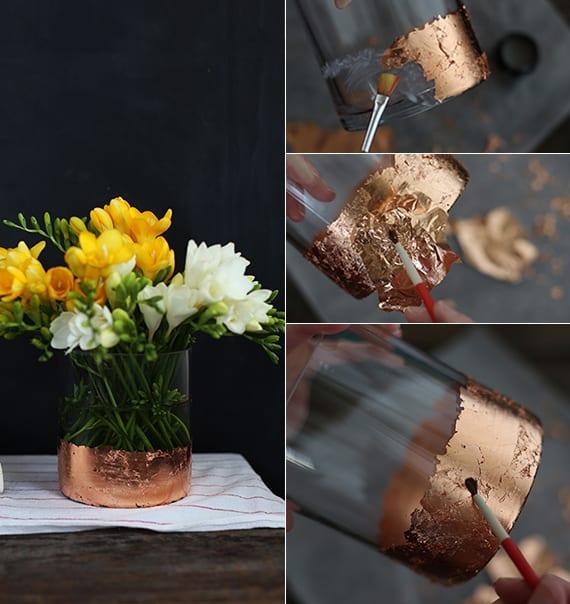 vasen selbst gestalten mit goldfolie als kreative bastelidee für tischdeko frühling und geschenkidee zum muttertag