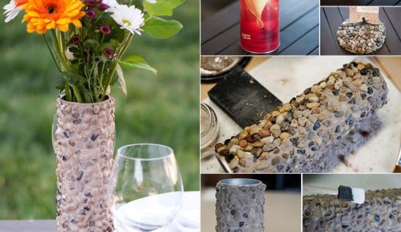 diy vase rund mit steinen deko basteln mit. Black Bedroom Furniture Sets. Home Design Ideas
