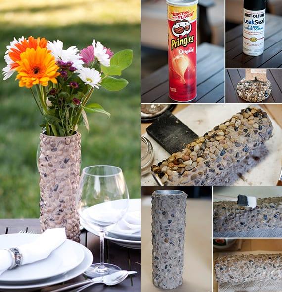 diy vase als coole dekoidee für gartentische_basteln mit steinen