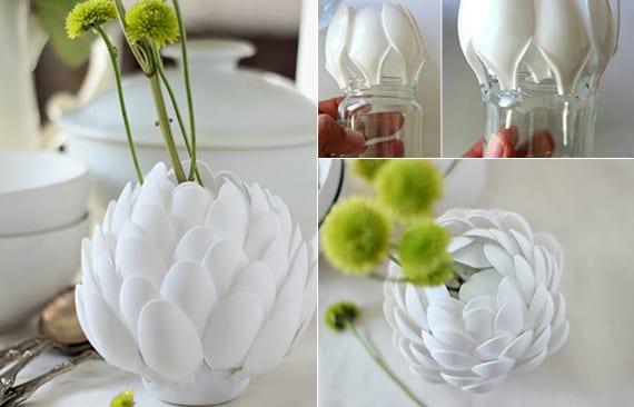 vasen selber machen aus plastiklöffeln als coole bastelidee für diy tischdeko weiß