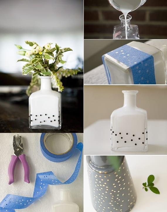 einfache bastelideen für kleine DIY Vase als coole Dekoration und Geschenkidee für selbstgemachte geschenke