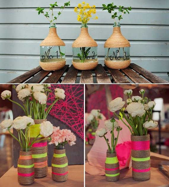 basteln mit bindfaden_ coole ideen für vasen selbst gestalten mit schnur