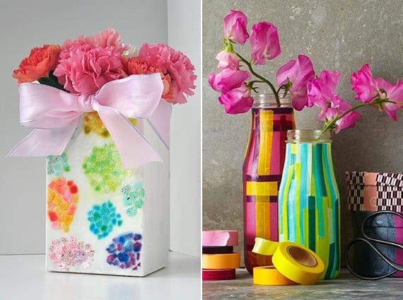 vase selber machen und bunt gestalten als geschenkidee zum muttertag und kreative diy tischdeko