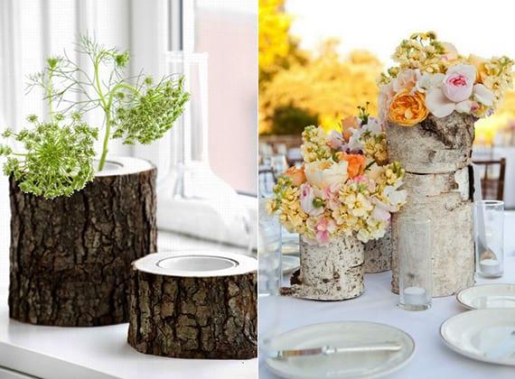 coole fensterdeko und Tischdeko mit diy vase aus holz als dekoideen für hochzeitsdeko