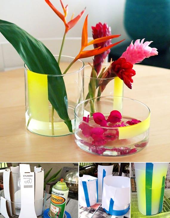 vasen selbst gestalten in gelb_coole dekoideen mit diy vase aus glas