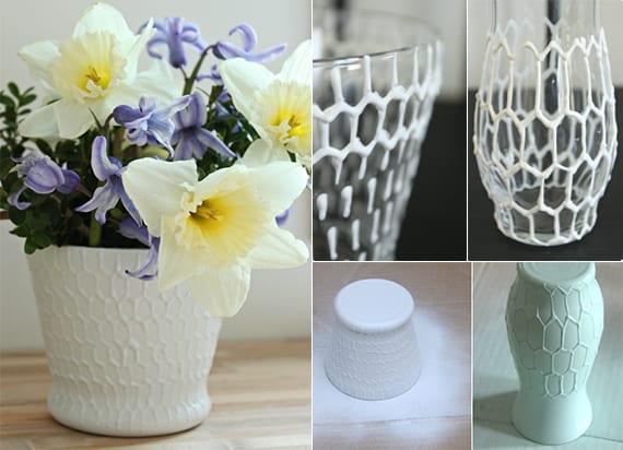blumentöpfe und vasen selbst gestalten mit wabenmuster